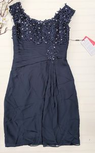 JJ'S House Navy Cap Sleeve Sequined Dress